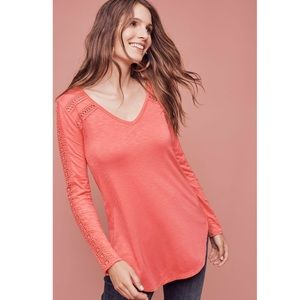 Anthro Deletta Coral Long Sleeve Lace Line Tee